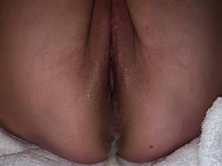 The creamy ending to our hotel fun. Can you tell he wore my pussy out?