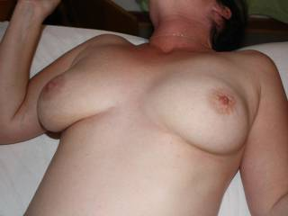 you should see how hard my cock got LOL would love to b playing with those nipples an tits when your hubby makes you cum