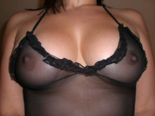 Sheer black is the perfect colour for your husbands spunk. Were you teasing him to make a mess of your top?