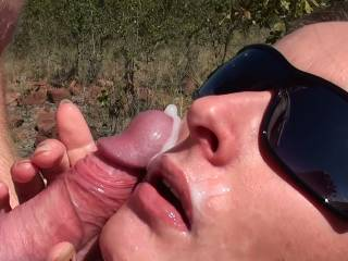 great outdoor blowjob with cumshot