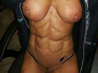 Gorgeous tits, nice and firm, lovely crinkly skinned areola too round those nipples I'd love to suck. Bet your pussy is very tight as you're so well muscled, love to lick it and give you a sensational orgasm to make you shudder with ecstacy
