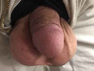 Letting my freshly shaved balls out