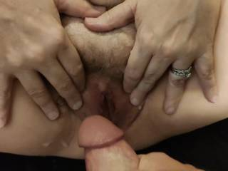 Isn\'t that a wonderful invitation? That gorgeous married pussy needs to be taken care of! I am about to spread more cum around for the cum-loving woman. Want to help?