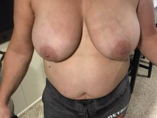how are these for a cum target...would anyone like to cum on my wifes big tits