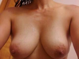 wife sends me a pic of her perfect tits.