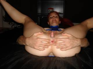 mmm sarah  that looks soooo yummy  great pic love that huge pussy and your tight ass mmm love to slide my fat cock inside and give them a good stretching xxx