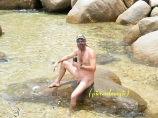 I envy you! love the way you are so relaxed....and your cock just sits on the wet rock