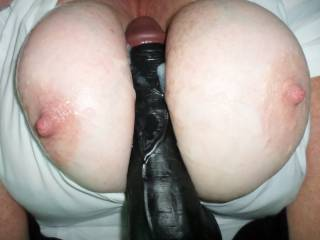 Dildo tit fuck with cum shot from Mr