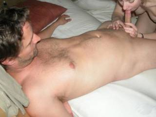 That's sooo HOT... I'd love to join and fuck you doggystyle while you suck your friend and hubby watches :)