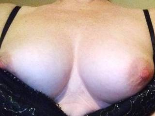A surprise selfie I received from the Mrs. while at work. She knew I couldn\'t come home so decided to have a little fun teasing me.