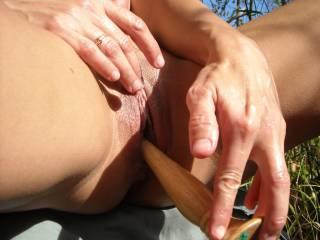 Rubbing the sweet spot.