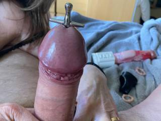 And as if by magic the sounding rod disappeared into hubby's thick cock! 😀