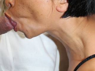 Tia sucking cock, she loves the taste of cum
