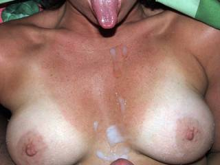 Shooting his load on my tits