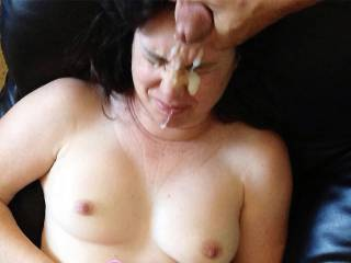 "My husband emptying himself on my face, I hate cum dripping out of my vag while at work so I prefer cum ""on"" me, Yes, I really said that. Besides, my husband likes it and I enjoy watching that first spurt. LoL!"