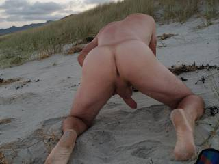 Showing off at the nude beach.