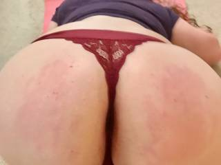 I decided to go interrupt her while she was doing yoga. She was already down on all fours, I just pushed her head down, lifted her ass up high, and peeled those yoga pants right off. She has a spectacular ass for the ages, so much fun to spank red.