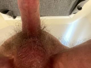 Looking upwards at my balls and cock