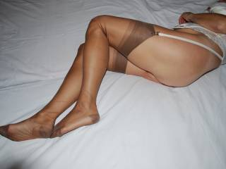 Tan stockings are so sexy and on your lovely legs they look so good.