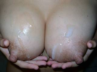 Cum fingers,but more sticky cum tits!