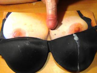5th Black Bra Cum Bukkake for Sweet T\'s tasty tits and sexy bra.You can still see the cum stains from the last 4.