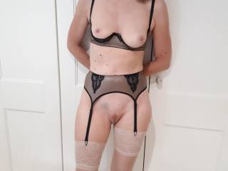 trying on new lingerie tits nipples pussy legs with stockings