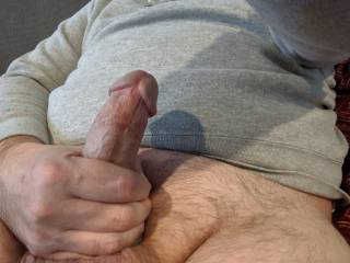 I had him stroke for me before I slid down on his thick cock