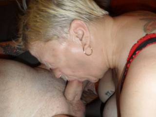 hi all I must say I do love the feel of hubbies cock deep in my throat. dirty comments welcome mature couple