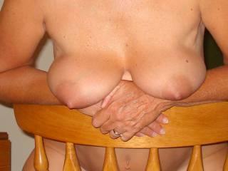 Saggy tits close-up.