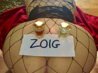 Shots anyone? Mabel is balancing shots and candles on her big round arse. Merv is making her pussy pulse as it pushes against the butt plug. Cheers!