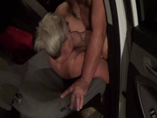 Another public garage fuck session. Wife after work having a little fun.