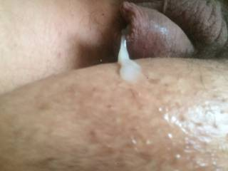 Again another ejaculation while my cock is soft but from a different angle you can see the texture and milky soft white of my cream. My ultimate fantasy would be to go to either a female doctor or nurse and have her wear out my cock just so she can taste