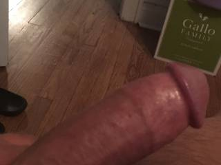 Showing my nice tan huge cock head I dropped in my wife's pussy with clean cut  foreskin