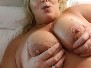 Love someone to lick on big tits and nipples.   Who wants to?