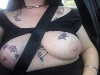 Driving along  Kentish roads with Sally showing her wonderful tits...
