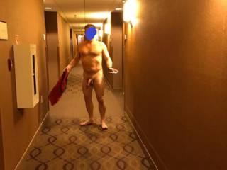 Walking down the hotel hallway...on a fun night...