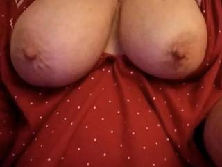 My wife's big tits, you can tell which one gets the most attention