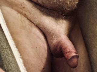 Right out of the shower, penis still red and swollen after jizzing.