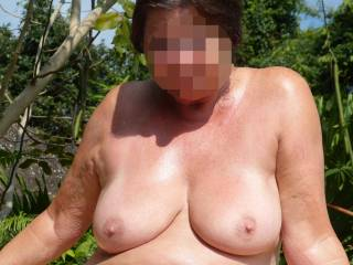 I love to use my hard cock to rub sun lotion all over your lovley tits
