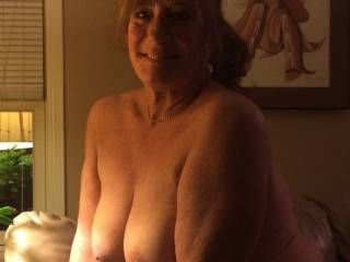 I have big, natural tits and I love being naked and showing them off.  It\'s a treat to rub them up against guys in  public place just to watch their cocks swell.  Follow me home guys!