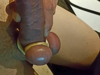 my balls tied uo and hard cock