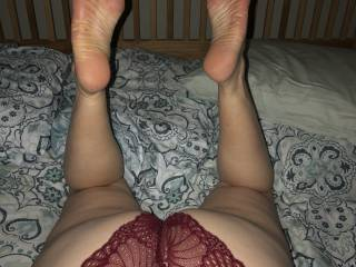 I love to look at her ass and feet as she sucks my dick
