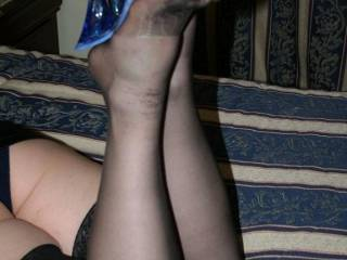 Showing off her new slutty heels and Black Stockings