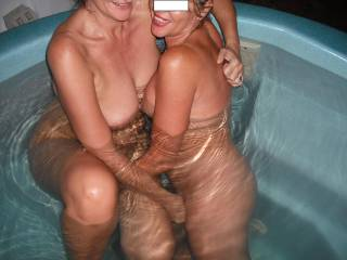 Mrs Oz and our swinger friend having fun in the spa, when they came around for a play.