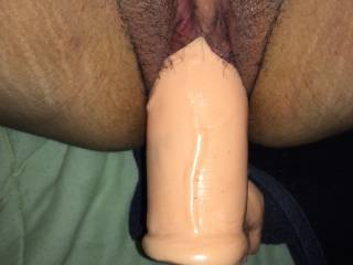 Lovely hairy pussy. So sexy seeing you filled. Nice toy choice.