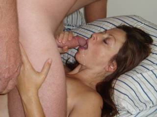 Open Up!  Here he cums!!  Candi Annie gets a mouth full..