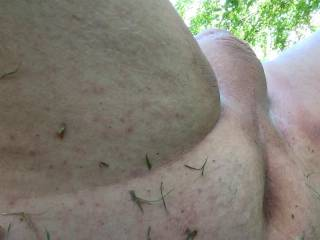 My smooth ass and balls outside for all to see!
