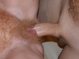 cock filled beautiful hairy red pussy