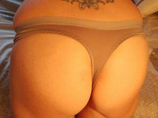 Wife wanted to play around taking photos in her panties. She was trying to get me all worked up by having me take photos of her in just panties. But she also chnagedin front of me . . . bending over putting her pussy in my face!