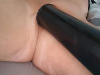 Miserable day wet and windy so pumping my cock and balls